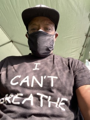 Pete White wearing I Can't Breathe shirt